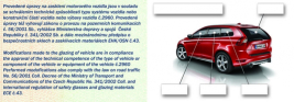 Typový list autofólie - osvědčení o provedení úprav zasklení